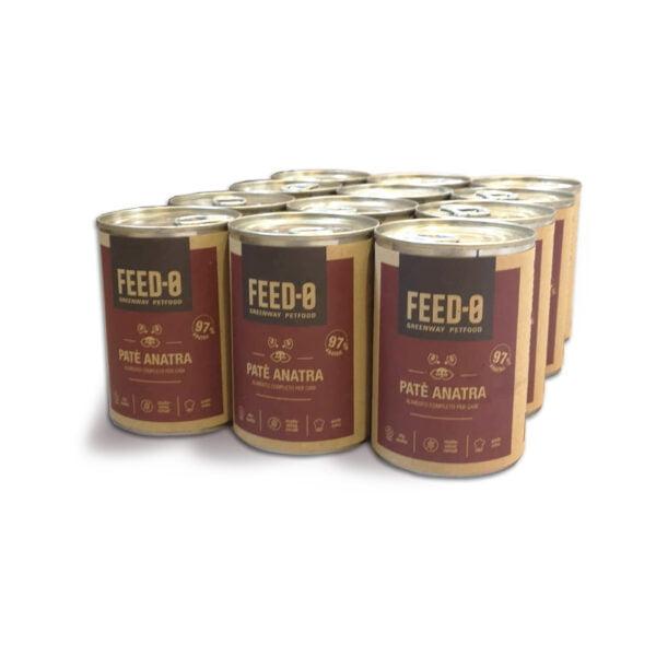 scatolette di patè all'anatra, alimento umido da 400 grammi per cani di ogni taglia