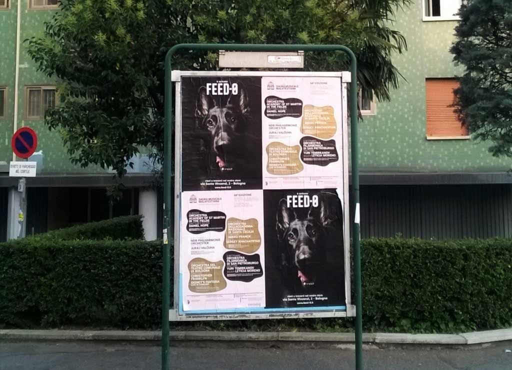 Manifesti di FEED-0, la novità per cani di Bologna