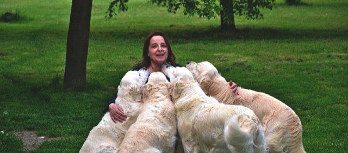 Maria Grazia Timpanaro del Sogno Antico con i suoi Golden Retriever